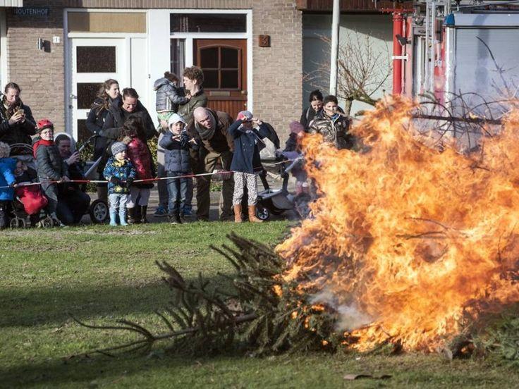 Vlammend einde voor kerstbomen De Blauwe Kei Breda. foto Ron Magielse / het fotoburo