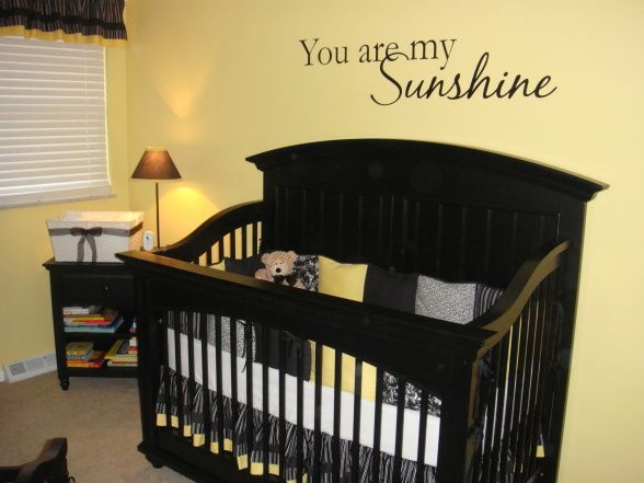 Sunshine Yellow, Baby Room with black, white, and yellow, A black crib with custom-made bedding consisting of black and white pin dot, stripe, and yellow solid fabrics.   , Nurseries Design