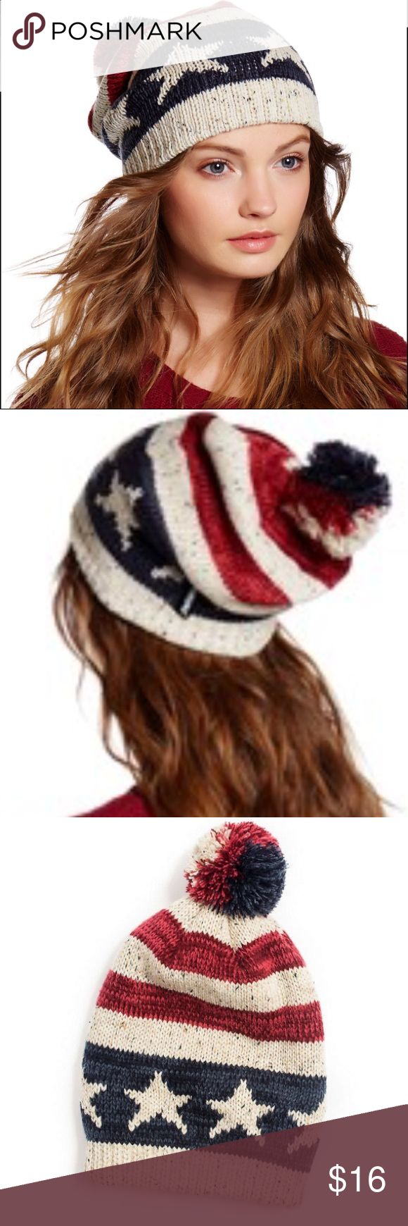 MUK LUKS Americana Pompom Beanie Lodge-worthy details define the outdoor-bound style of this beanie, knit from an ultrasoft textile. With this cute American flag beanie, you can show your patriotism and stay cozy while doing it. One size fits most.  100% acrylic Machine wash; dry flat Muk Luks Accessories Hats
