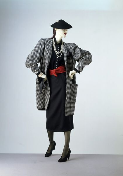 1979, England - Day outfit by Wendy Dagworthy - [Coat] Black and white woven woollen shepherd-check [Shirt] Black plain weave wool