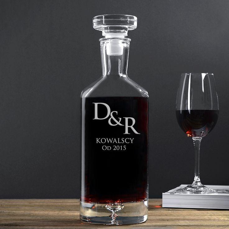Grawerowana karafka do wina INICJAŁY