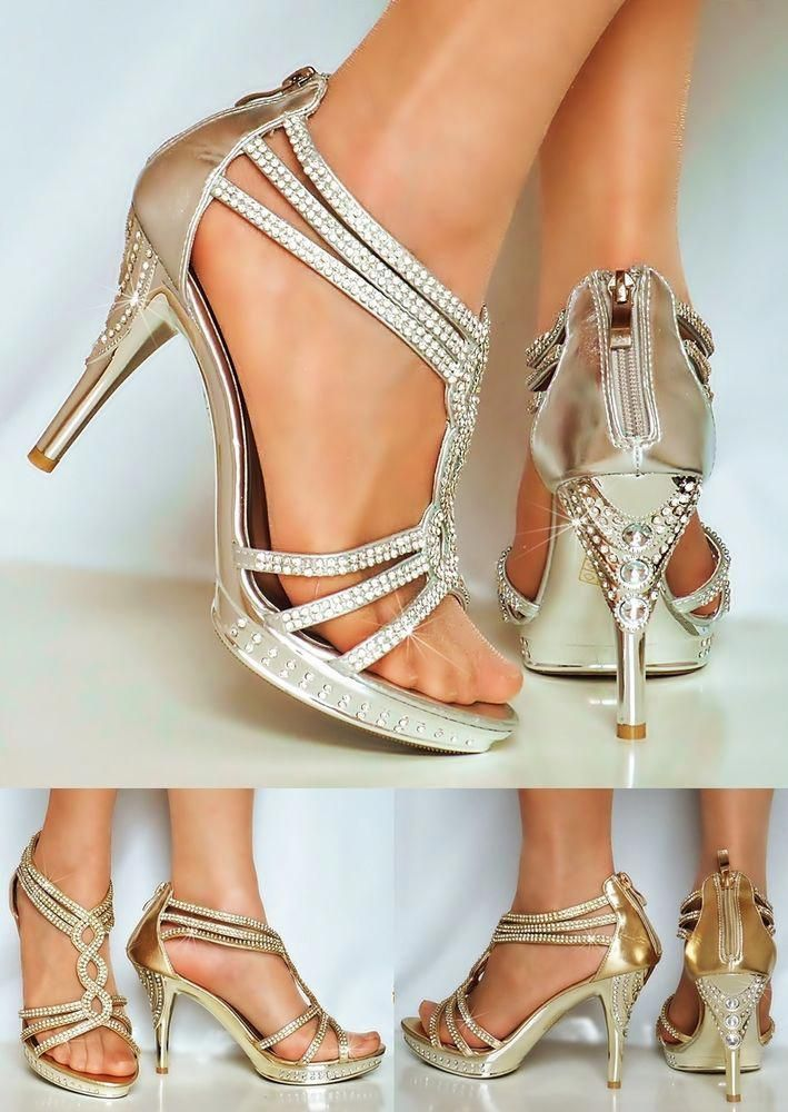 4a8071dd571 NEW Ladies Party Sparkly Diamante Ankle Straps Low Mid Heel Shoes Sandals  Size  Promheels