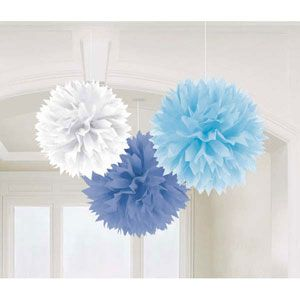 A181046 - Fluffy Hanging Decorations. Blue Fluffy Hanging Decoration Boy, The tissue paper decorations feature lovely light blue, mid blue and white colours. Some assembly is required to fluff up the decorations. Measures 40cm in diameter - Pack of 3. Please note: approx. 14 day delivery time