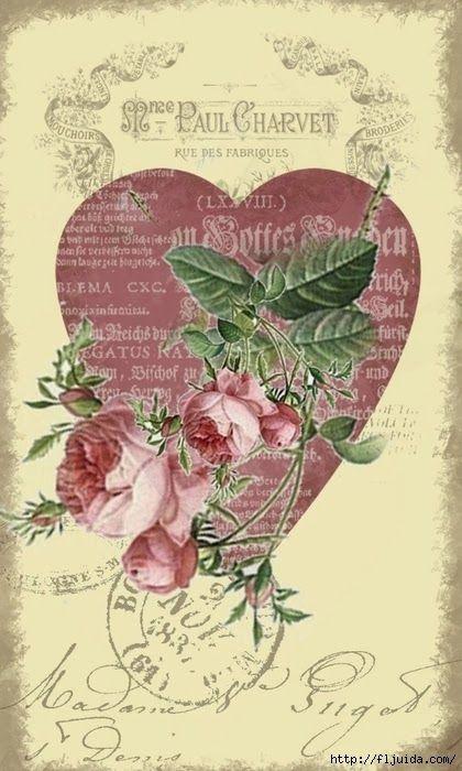 postal corazon rosas paul charvet