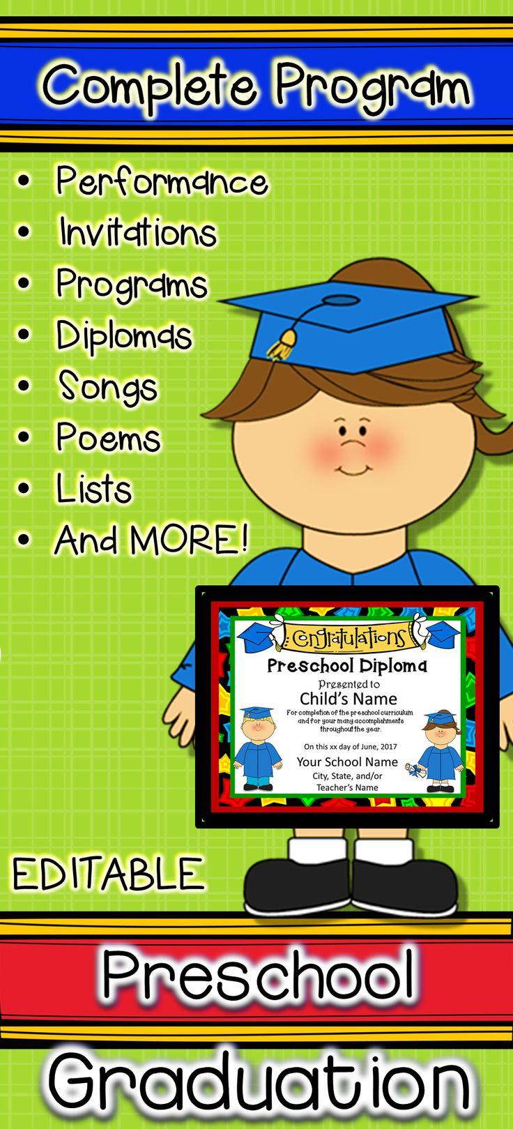 preschool graduation diplomas  invitations  and program