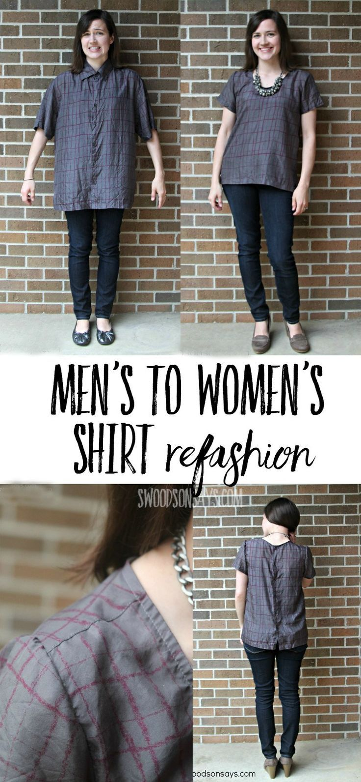 Unique Men's Shirt to women's shirt refashion from Swoodson Says - get inspired for how to turn a baggy mens shirt into a chic women's top! This creative refashion upcycles a button up shirt with a few simple steps. Using the Grainline Scout Tee pdf pattern.  #refashion
