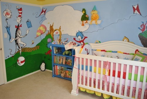 17 best images about dr seuss nursery on pinterest cats for Dr seuss nursery mural