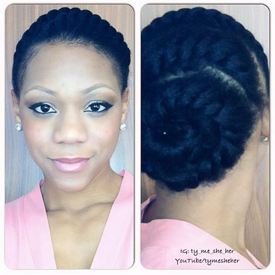 """Spiral BraidTransitioning phase: six months in or longer  This is definitely for the transitioner who has a couple months of styling experience. It's a great protective —and put-together —style for the winter months, when you want to keep your ends tucked in. It's also super-versatile. """"You might be able to get another style out of this by just undoing the braid and wearing it out,"""" Latimer says."""
