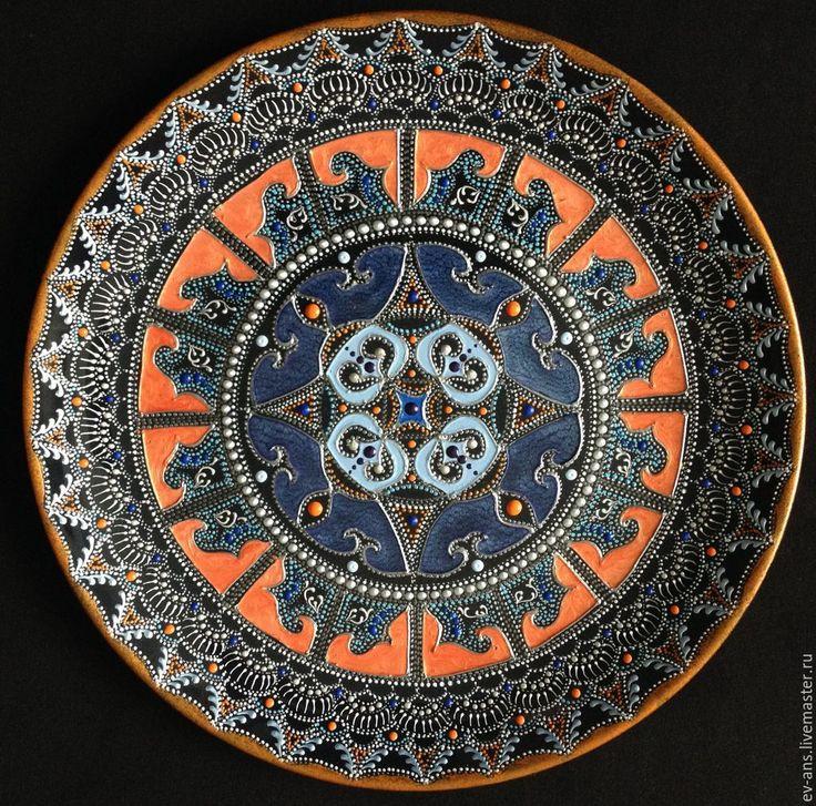 Купить Тарелка декоративная Game - черный, восточный орнамент, точечная роспись, Тарелка декоративная