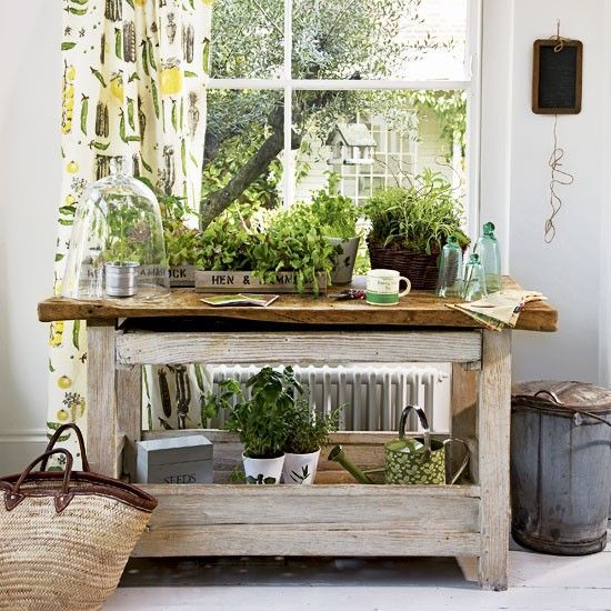 Garden Work Bench Position A Table By A Window For Your Indoor Salad  Greens. Grow Salad In Wooden Seed Trays, Herbs In Illustrated Pots And  Tomatoes Under ...