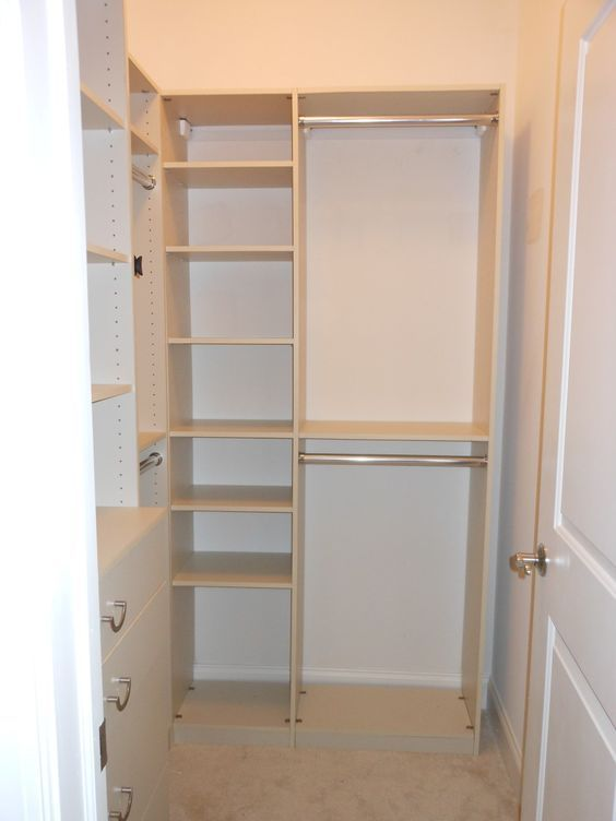 Furniture. cream solid wood cabinetery for small walk in closet design with shelves and double clothes hanger. Impressing Walk In Closet Ideas For Small Spaces: