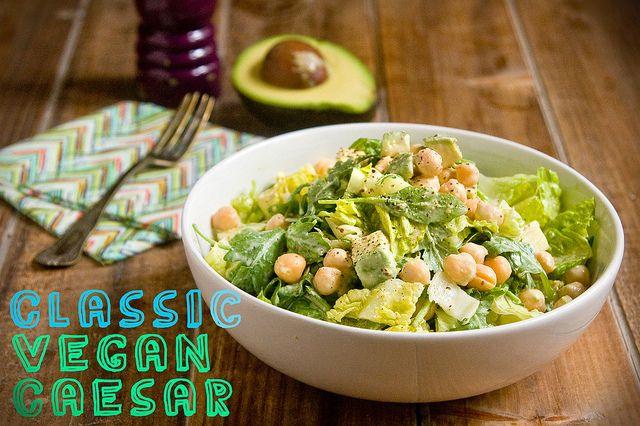 Classic Vegan Caesar With Avocado & Chickpeas (The Little Beet) Sub Garlic Chickpea Dressing