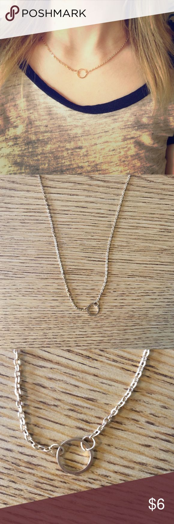 gold circle necklace Super cute! Only worn to take cover photo, simple everyday necklace. PLEASE NOTE THIS CAN ONLY BE BUNDLED WITH OTHER ITEMS WITH A RED DOT :) Jewelry Necklaces