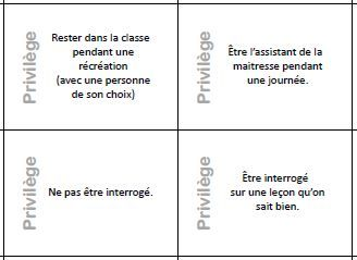 """Chez Charivari - Des privilèges qd on a bien travaillé ?  Une boite pleine de petits papiers à tirer au sort. Sur chaque petit papier figure un """"privilège"""" que l'on accorde à l'élève qui le tire."""