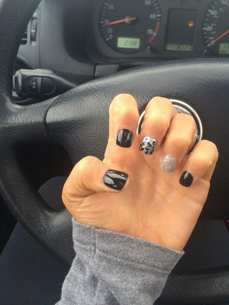 black and silver cheetah nails