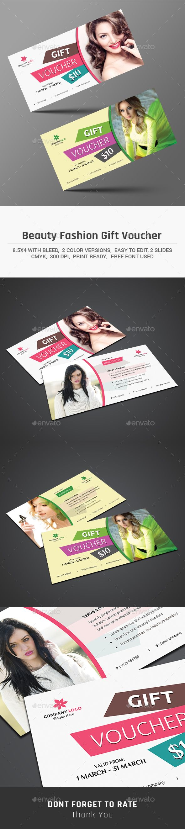 Beauty Fashion Gift Voucher Template PSD #design Download…