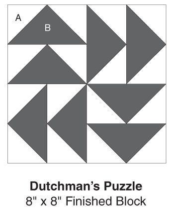 Dutchman's Puzzle, part of Quilter's World's FREE Quilt Block of the Month. Get the download here: http://www.quiltersworld.com/Quilt_Block/?source=fcebkqw