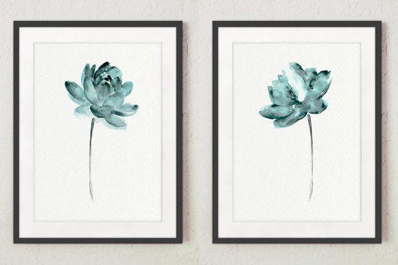 Dusty Teal Lotus set 2 fleurs, aquarelle de lotus abstraites, idée d'art cadeau minimaliste moderne d'impression femme, affiche de méditation zen   – Aquarelado