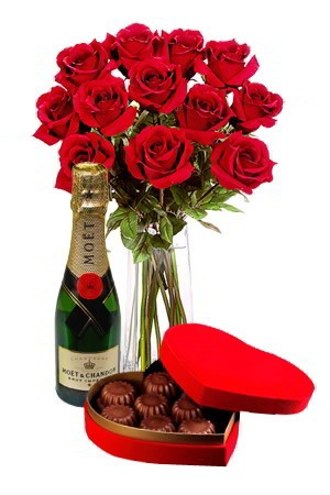 Love is in the air - Romance Package    Love is in the air this Valentine's Day and what better way to express your love and to show them they're special than with stunning silky red roses, creamy premium chocolates and a bottle of Moet and Chandon to wash them down with. Wow.