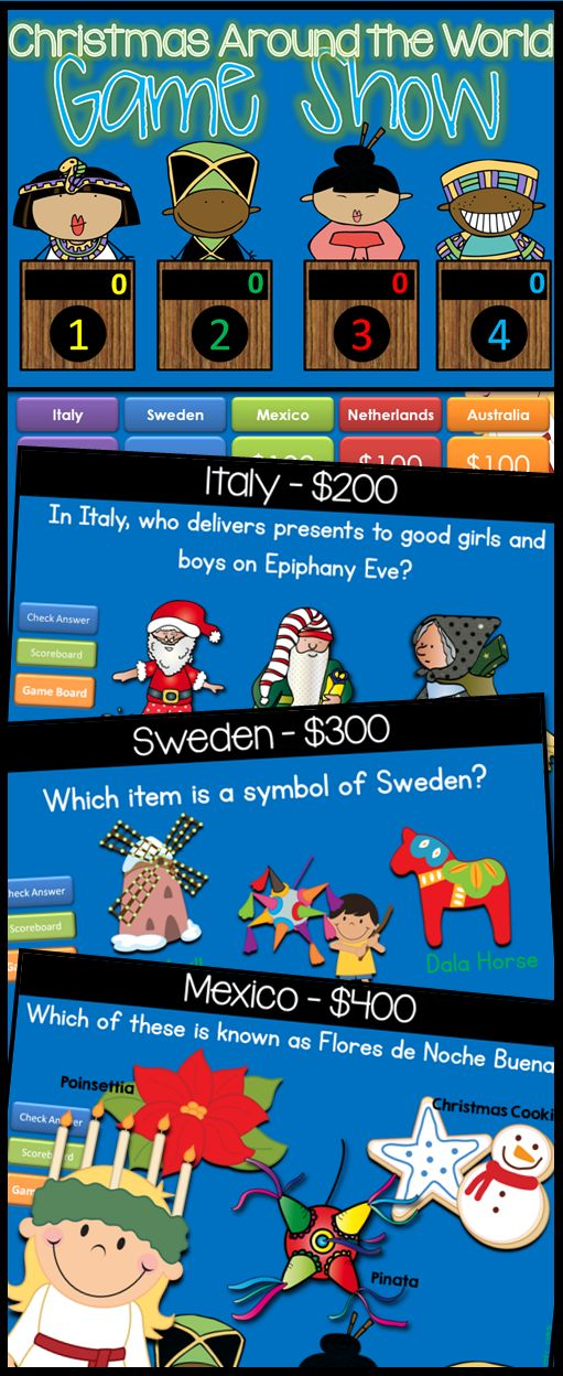 The Christmas Around the World - game show is the perfect addition to any Christmas Around the World unit. It includes 25 fun facts about 5 different countries during Christmas. Countries include: ITALY, SWEDEN, MEXICO, THE NETHERLANDS, and AUSTRALIA. All in a fun, INTERACTIVE powerpoint!  $