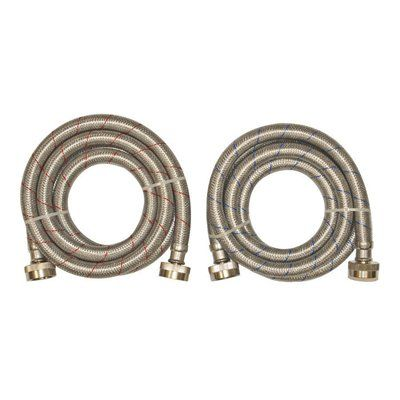 EASTMAN 2-Pack 6-ft 1500-PSI Stainless Steel Washing Machine Drain Hose