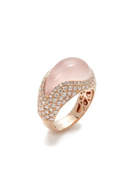 Paisley Shaped Rose Quartz & Diamond Ring by Danni on Gilt.com