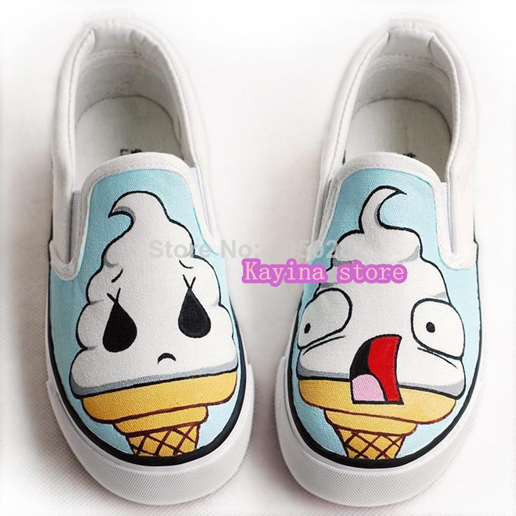 Free shipping 2014 Ice cream hand-painted shoes casual shoes sneakers lovely students tide graffiti shoes  $1084,35