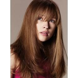 #WigsBuy Fashion Last Long Layered Cut Hairstyle Straight 100% Human Hair Wig with Fringe 18 Inches