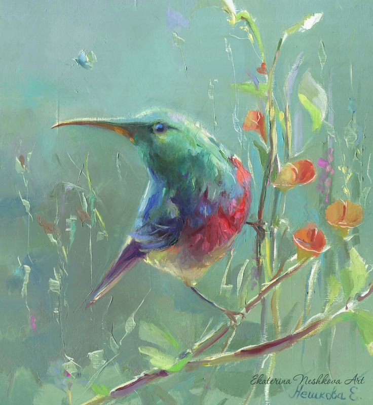 birds, yellow, neshkovaart, painting, Ekaterina Neshkova Art, Collared Sunbird (Cinnyris chalybeus), oilpainting, bird