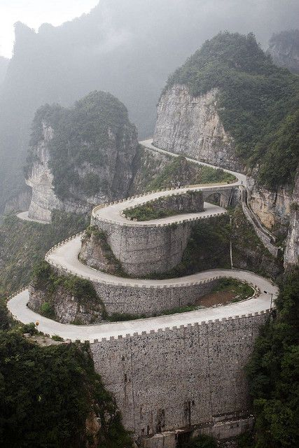 The spectacular winding road of Tianmen Mountain in Hunan Province, China...