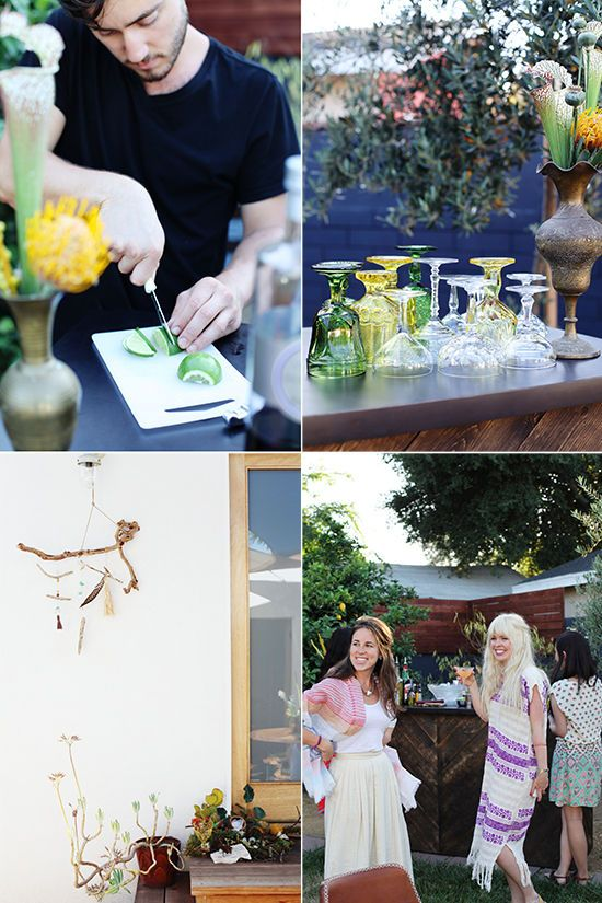 Love the mismatched cocktail glasses. Vintage vibes all the way.  || backyard mixology party | designlovefest