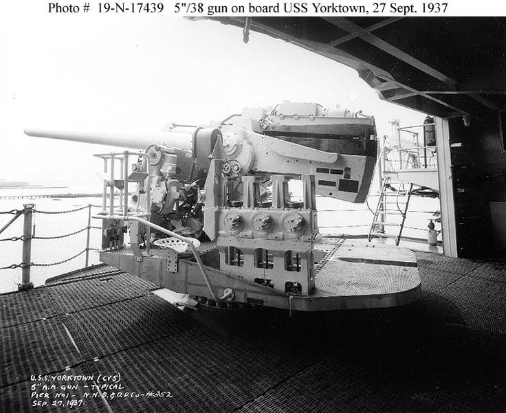 USS Yorktown CV-5 - 5-inch/38 caliber dual-purpose gun mounted on the ship's after starboard gun platform, looking aft and to starboard, 27 September 1937.