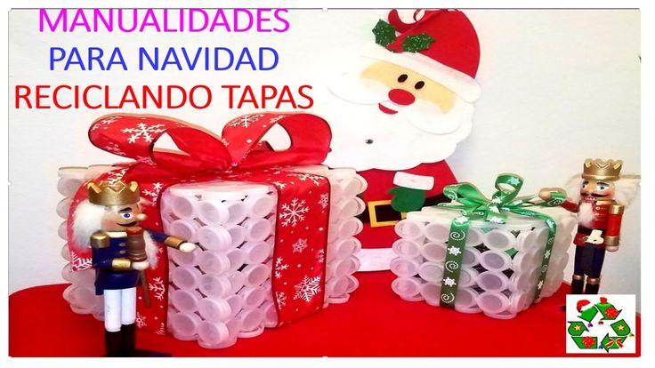 MANUALIDADES PARA NAVIDAD CON TAPAS PLÁSTICAS / DECORATION  FOR CHRISTMA...