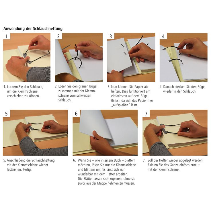 """Nutzen Sie bei umfangreichen Vorgängen eine Schlauchheftung.   Vorteile: • bequem blättern und lesen wie in einem Buch • direkt zwischenheften – ohne die Löcher wieder """"auffädeln"""" zu müssen • einfach aus den Mappen heraus kopieren (bis in den Randbereich und ohne die Mappe auseinanderzunehmen).  In den mitwachsenden VARIO-Dehnheftern von MAPPEI ist bereits eine Schlauchheftung integriert."""
