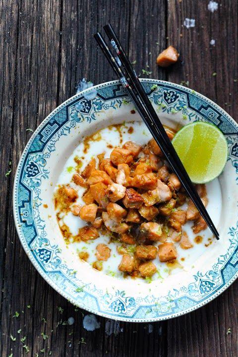 Dorian cuisine.com Mais pourquoi est-ce que je vous raconte ça... : Petit plaisir solitaire avec un saumon mariné à l'asiatique dans un océan de coco... parce que des fois les autres...