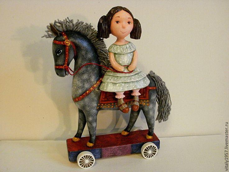 Купить Девочка и лошадь . Скульптура. Дерево . Ручная роспись - скульптура, дерево, ручная роспись