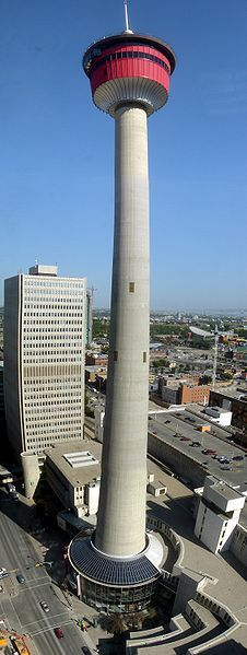 The Calgary Tower is a 191 metre (626 feet) free standing observation tower in Downtown Calgary, Alberta, Canada.