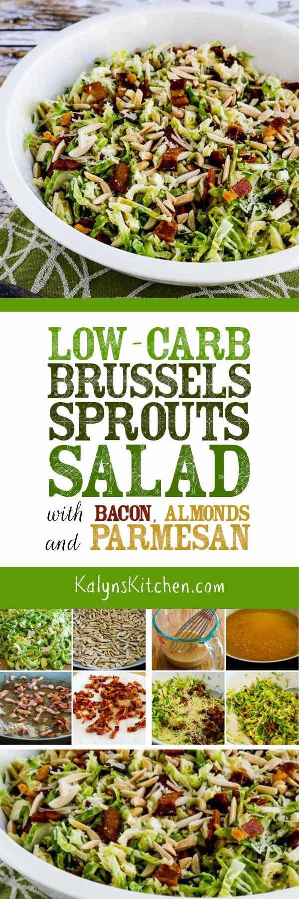 Low-Carb Brussels Sprouts Salad with Bacon, Almonds, and Parmesan is absolutely AMAZING; if you haven't had a salad with raw brussels sprouts this is a must-try! You can also add a few dried cranberries if you want to make it into a holiday salad and don't mind adding a few carbs! [found on KalynsKitchen.com] #BrusselsSprouts #BrusselsSproutsSalad #BrusselsSproutsSaladBaconAlmondsParmesan #LowCarbBrusselsSproutsSalad #LowCarb #Keto #GlutenFree