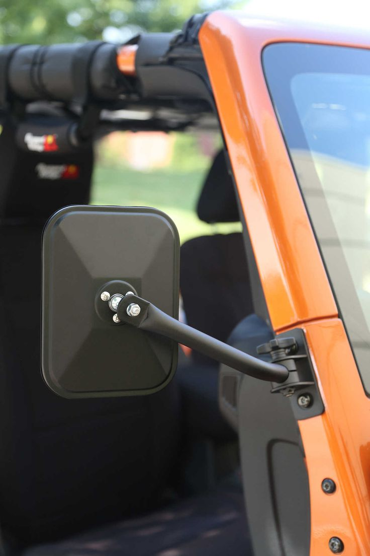Rugged ridge rectangular quick release mirror kit in textured black for 97 16 jeep