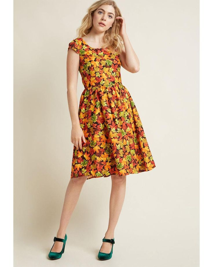 ModCloth | Orange Autumn Leaf Festival A-line Dress In Maples | Lyst