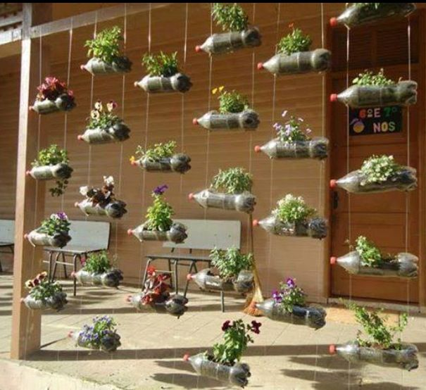 Coke Bottle Planters Use Something That Falls As It Grows