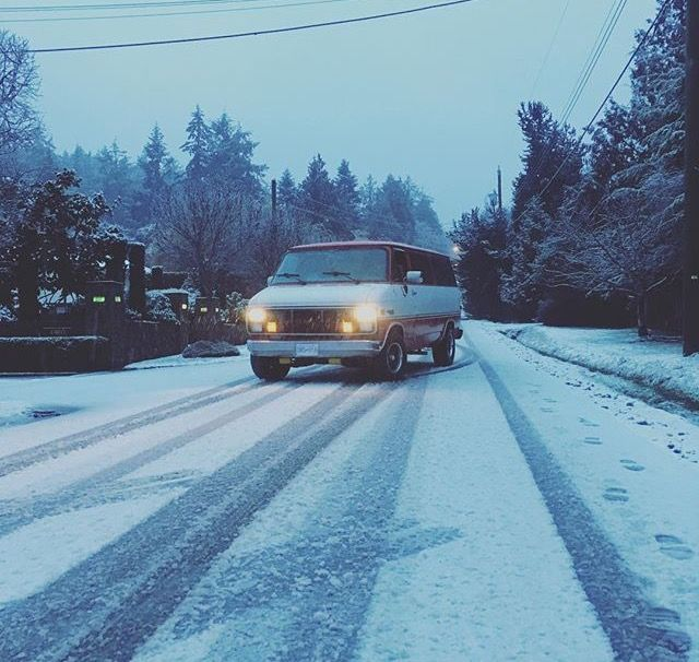 GMC Van in snow