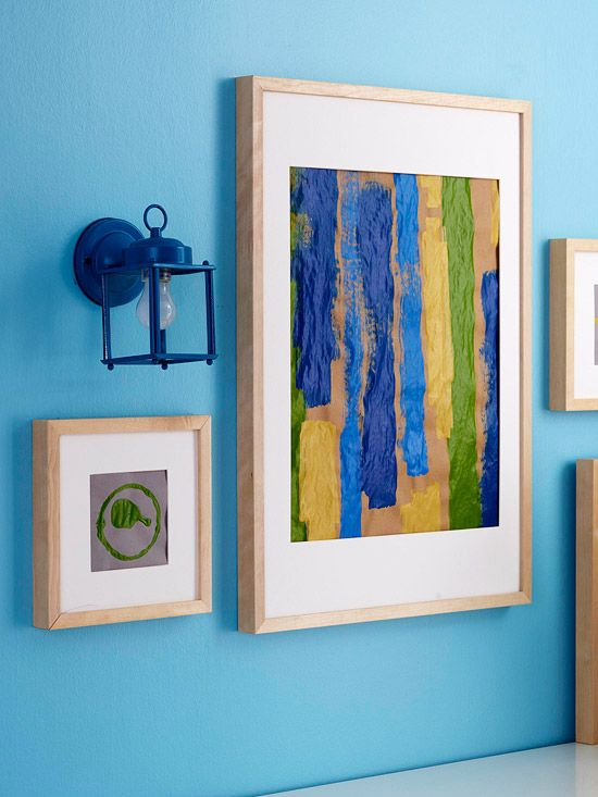 Create wall art from leftover paint supplies. Brush stripes of paint or press paint can lids onto scraps of kraft paper for colorful wall art. Mat and frame your work for one-of-a-kind decor./