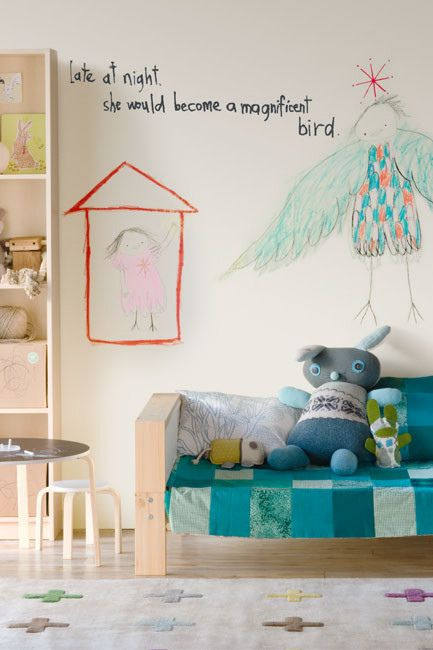 the boo and the boy: Eclectic kids' rooms .. love the idea of incorporating child's art work into a wall mural, child size couch with stuffies