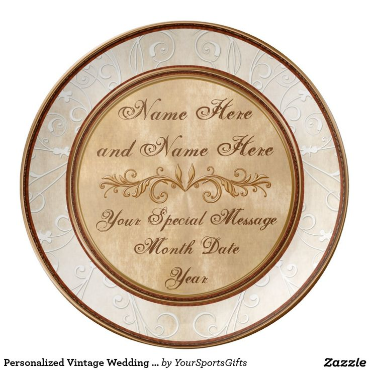 Stunning Personalized faux Vintage Anniversary Gifts or Vintage Wedding Ideas Gifts. Porcelain Anniversary Plates for ANY YEAR, Couple's NAMES and DATE(S): CLICK HERE: http://www.zazzle.com/personalized_vintage_wedding_anniversary_plates-256703412118356510 Gorgeously designed with a subtle vintage themed wedding or anniversary gifts for any year. We will customize it for you with your anniversary party colors, vintage wedding colors, year etc. CALL Rodney or Linda: 239-949-9090