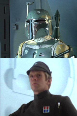 Jeremy Bulloch as Boba Fett and an Imperial Officer in the Empire Strikes Back