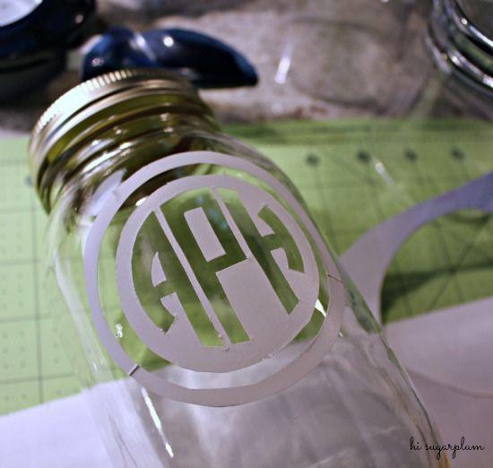 Monogrammed DIY etched glass via Hi Sugarplum