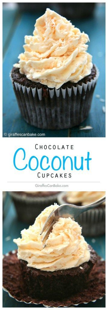 Chocolate Coconut Cupcakes |Giraffes Can Bake