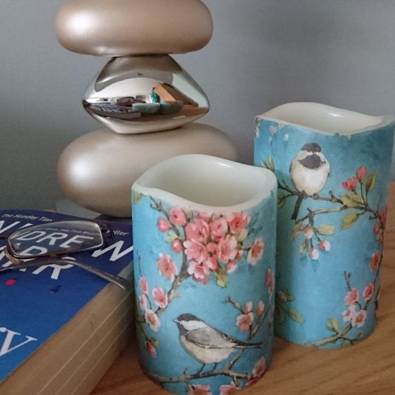Bird candle gift - Blue candle set - New home gift  - Gift set of 4 inch and 5 inch wax round pillar candle  - Flameless LED candle has no fire risk, no wax mess and no smoke  - Perfect as a window candle or table centrepiece, ideal for elderly relatives and homes with children and pets, bright Spring decor  - Housewarming gift, Mothers day gift, Birthday present, Gifts for Grandma  - A Decoupage candle is a safe alternative for wedding table decorations, office decor and as a childs night…