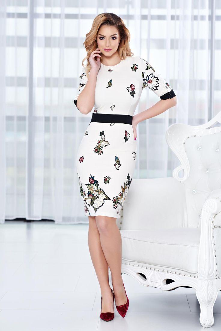 Comanda online, Rochie PrettyGirl Floral Office Nude. Articole masurate, calitate garantata!